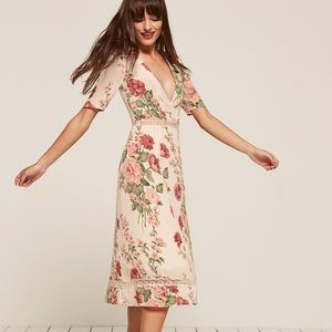 Reformation white floral carina dress